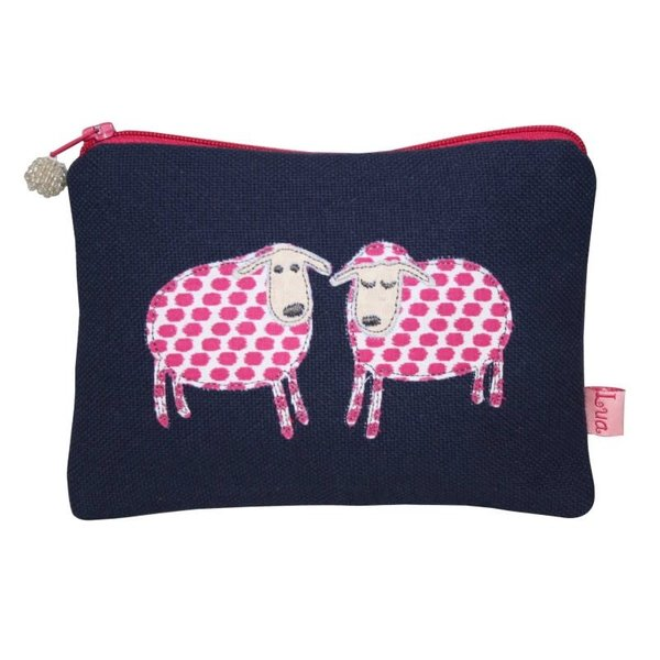 Two Sheep appliqued zip purse navy 142
