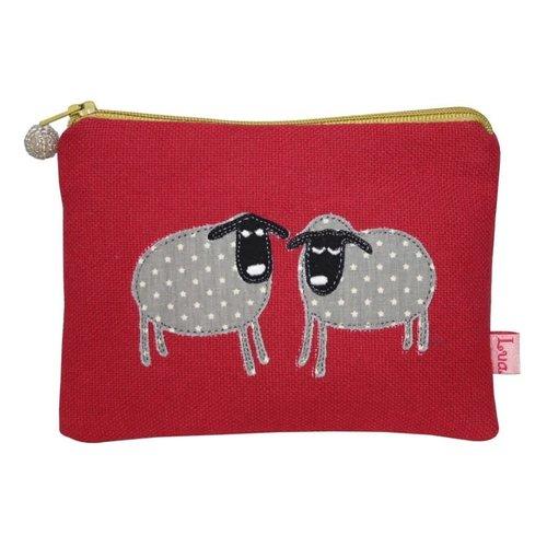 LUA Monedero de dos ovejas con cremallera y frambuesa 143