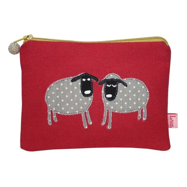 Two Sheep appliqued zip purse raspberry 143