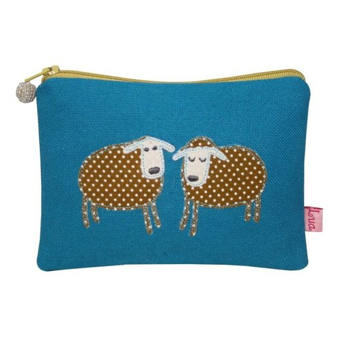 LUA Two Sheep appliqued zip purse turquoise 141
