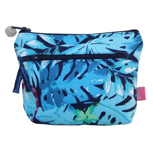 LUA Two zip purse blue parrots 154