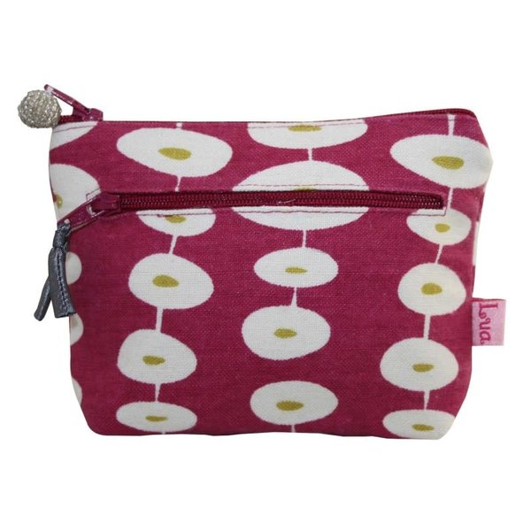 Two zip purse raspberry oval 153