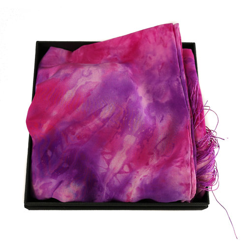 Lady Crow Silks Fuchsia Crepe de Chine silk fringed scarf  Boxed 94