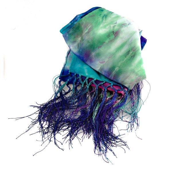 Bufanda con flecos de seda crepé de Chine de Peacock en caja 98