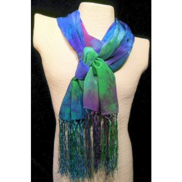 Peacock Crepe de Chine silk fringed scarf  Boxed 98