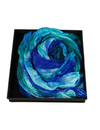 Kingfisher Crinckle wide Silk Scarf  Gift Boxed 101