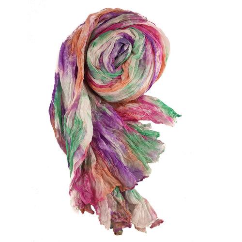 Lady Crow Silks Harmony Crinckle pañuelo de seda ancho regalo en caja 104