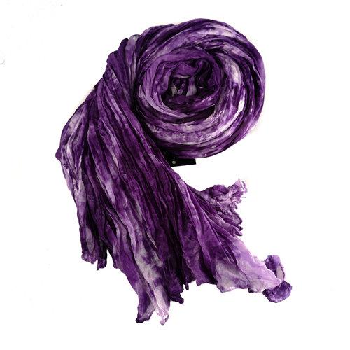 Lady Crow Silks Dusky Lavender Crinckle pañuelo de seda ancho regalo en caja 105