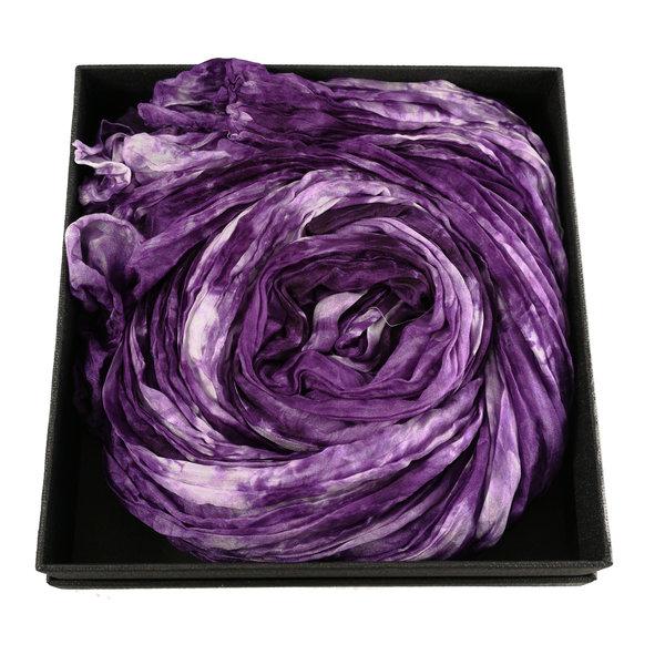 Dusky Lavender Crinckle wide Silk Scarf  Gift Boxed 105