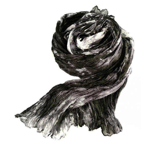 Slate Crinckle wide Silk Scarf  Gift Boxed 103