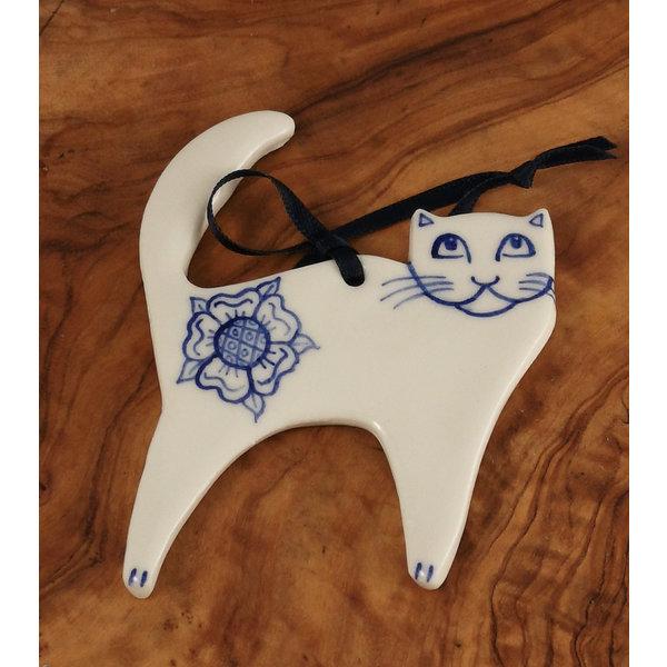 Cat with rose ceramic decoration 069