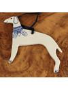 Windhund mit Eichenkragen Keramik Ornament 065