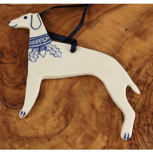 Pretender To The Throne Windhund mit Eichenkragen Keramik Ornament 065