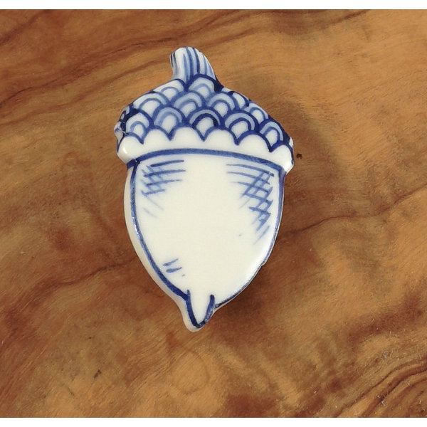 Acorn ceramic brooch