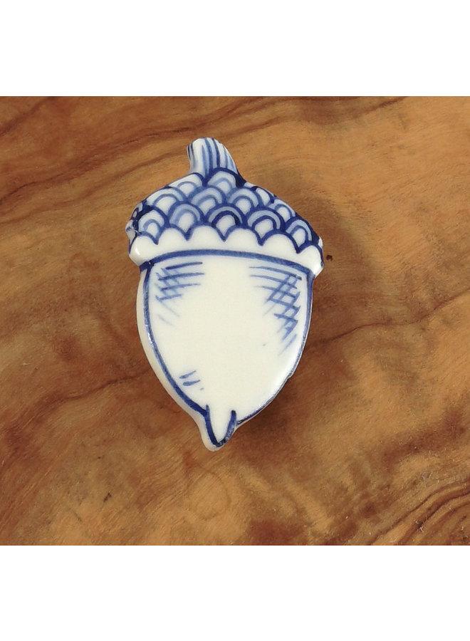 Eichel Keramik Brosche 008