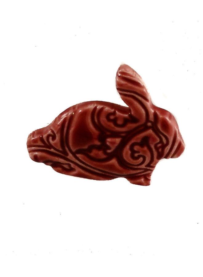 Hase klein gestempelt Keramik Brosche 049