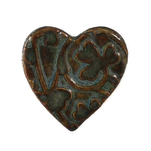 Pretender To The Throne Heart dark turq. small stamped ceramic brooch  085