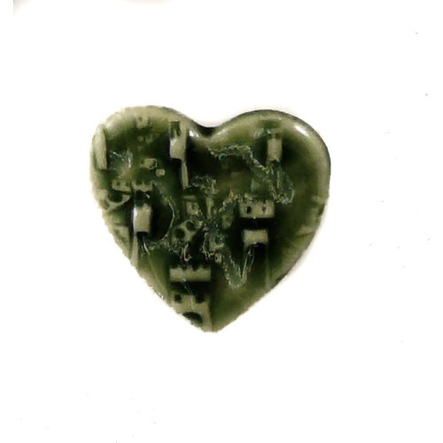 Pretender To The Throne Heart green small stamped ceramic brooch  087