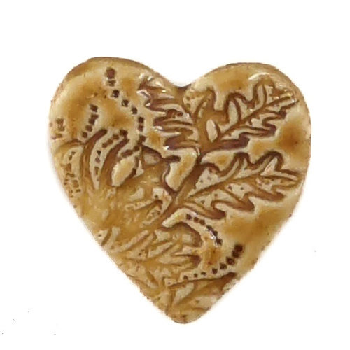 Pretender To The Throne Heart ochre small stamped ceramic brooch  084