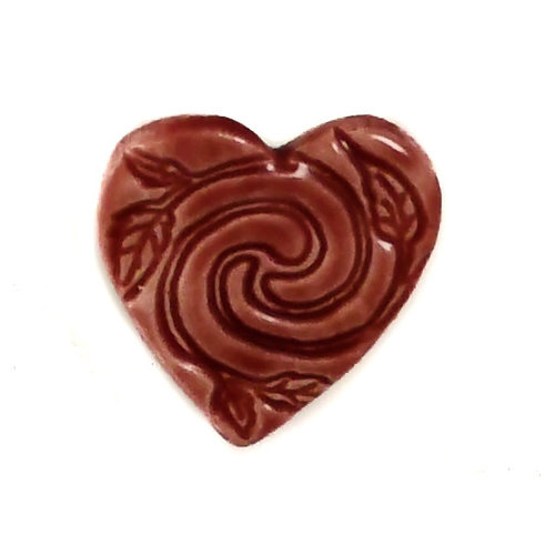 Pretender To The Throne Heart rose small stamped ceramic brooch  086
