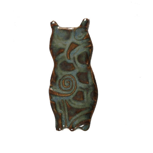 Pretender To The Throne Owl dk. turq. small stamped ceramic brooch  092