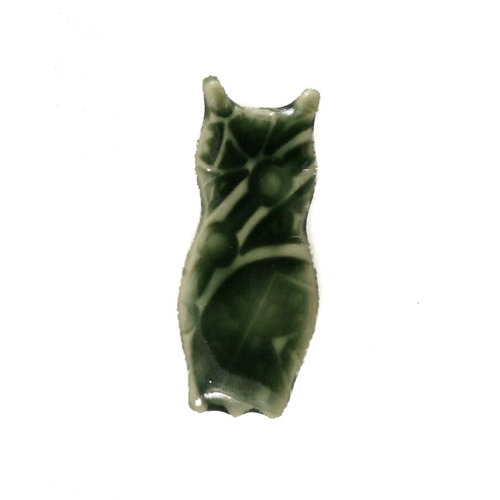 Pretender To The Throne Owl green small stamped ceramic brooch  094