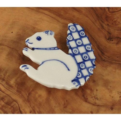Pretender To The Throne Squirrel ceramic brooch  075