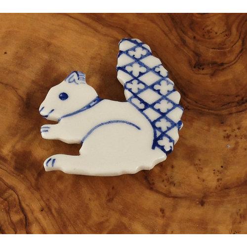 Pretender To The Throne Squirrel ceramic brooch  076