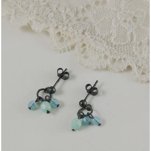 Judith Brown Charm  aqua  stud earrings 12