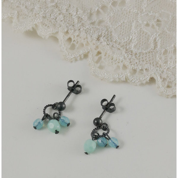 Charm  aqua  stud earrings 12