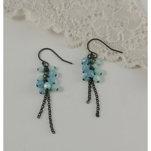 Judith Brown Cluster chain aqua and mint  drop earrings 10