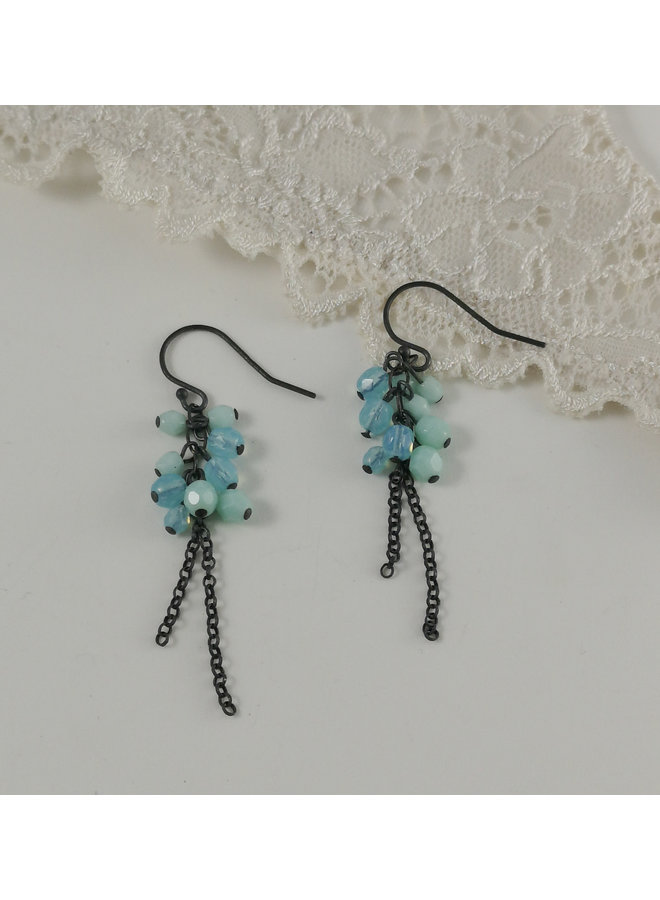 Cluster Kette Aqua und Minze Ohrringe 10