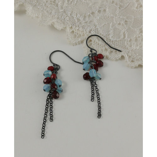 Judith Brown Cluster chain aqua and red drop earrings 11