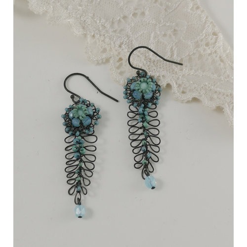 Judith Brown Fern and flower aqua and mint drop earrings 05