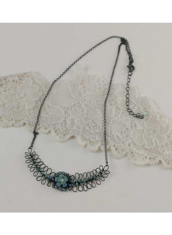 Farn und Blume Aqua und Minze Halskette 01