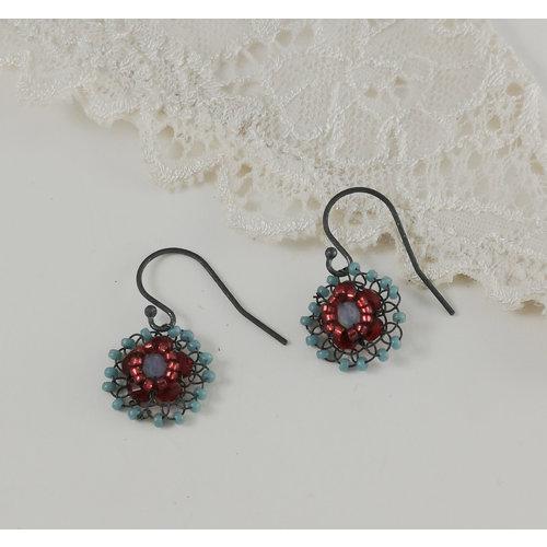 Judith Brown Flower aqua and red drop earrings 06