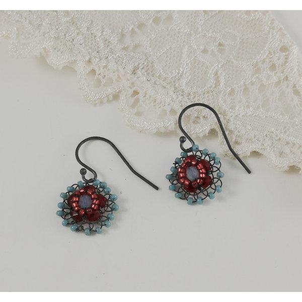 Flower aqua and red drop earrings 06
