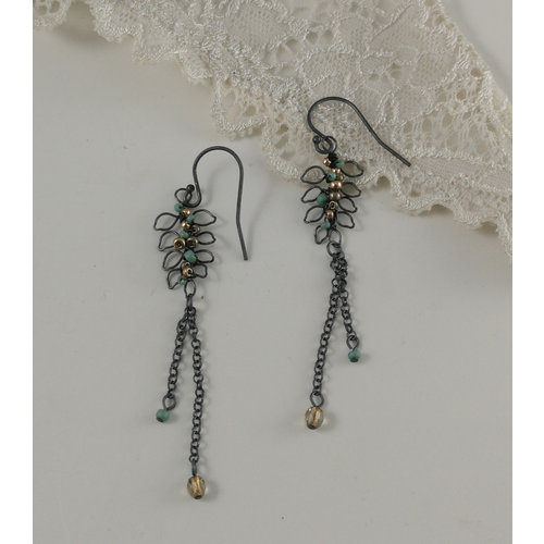 Judith Brown Leaf chain aqua and old gold drop earrings 07