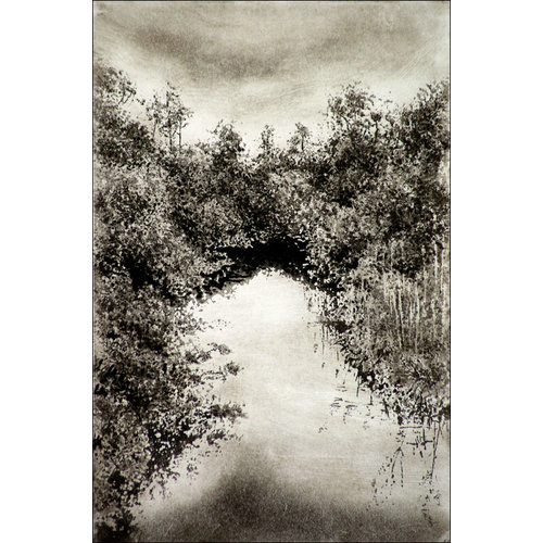 Ian Brooks Bidgehouse Beck from Ebor Lane, Haworth - etching 27