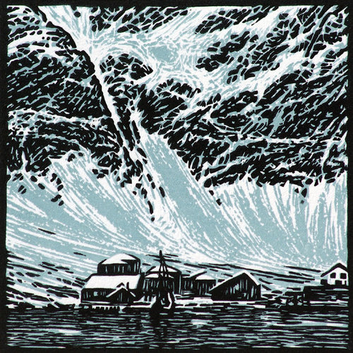 Ian Brooks Grytviken  - lino cut 30 unframed