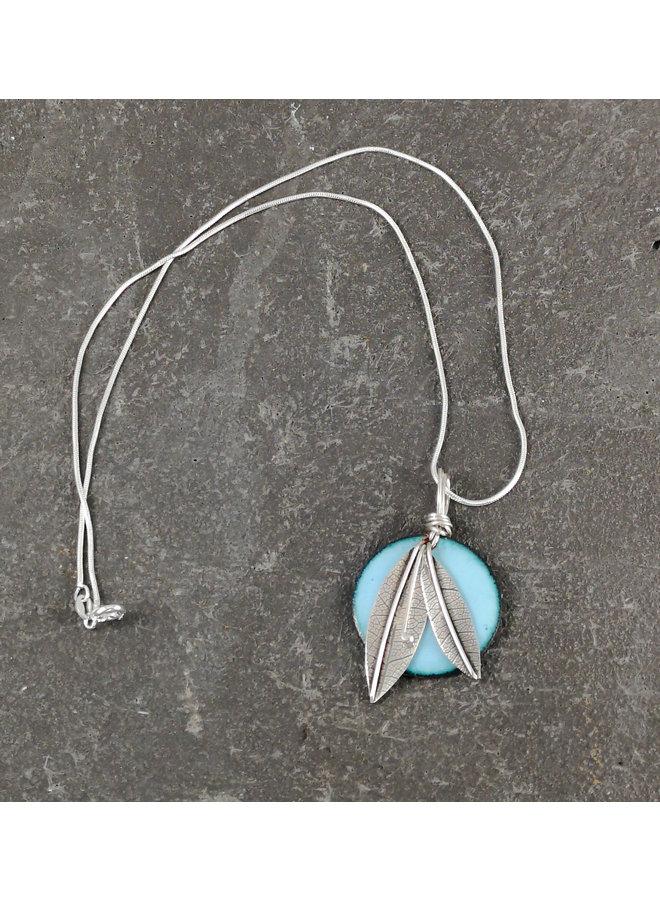 Round enamel & silver leaf pendant  sky blue 04