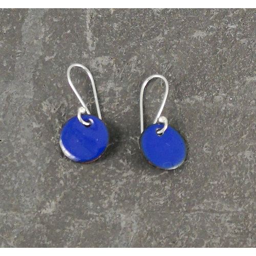 Jane Marshall Pendientes redondos de esmalte azul 06