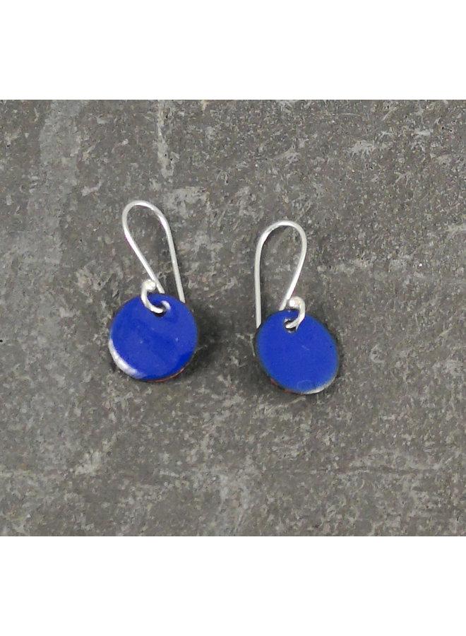 Runde Emaille Ohrringe blau 06
