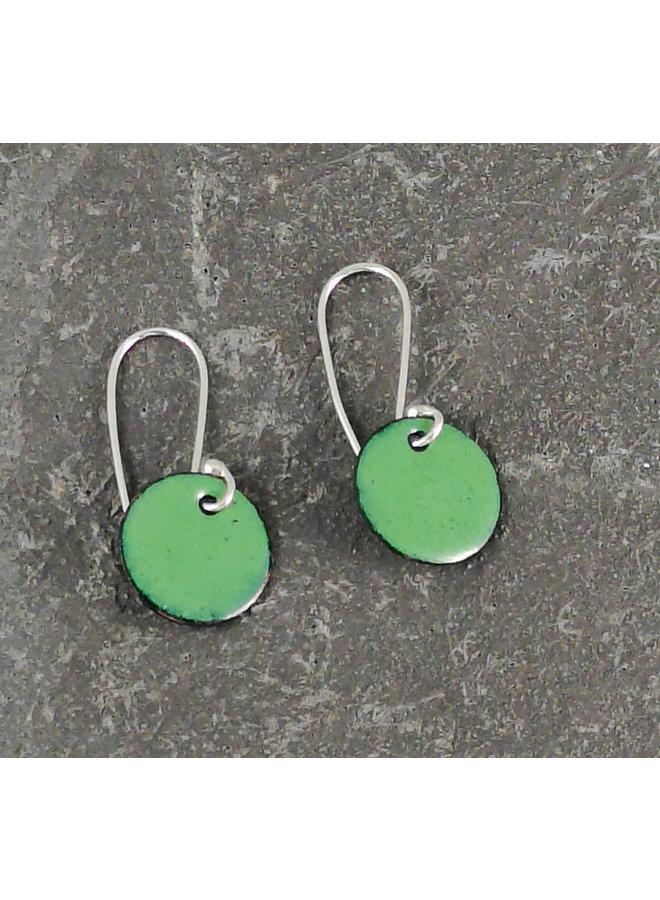Runde Emaille Ohrringe grün 05
