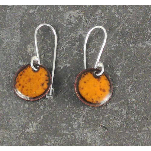 Jane Marshall Round enamel drop earrings orange 10