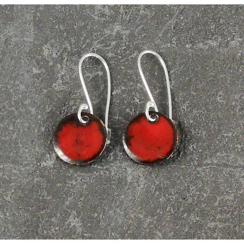 Jane Marshall Round enamel drop earrings red  09