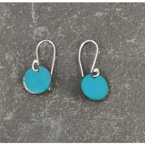 Jane Marshall Pendientes esmaltados redondos verde azulado 08