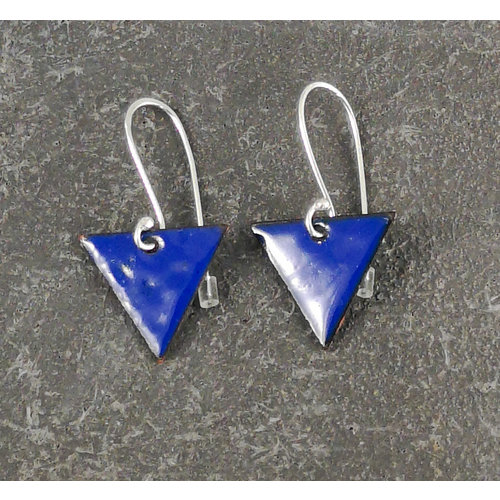 Jane Marshall Pendientes esmaltados triangulares azules 11