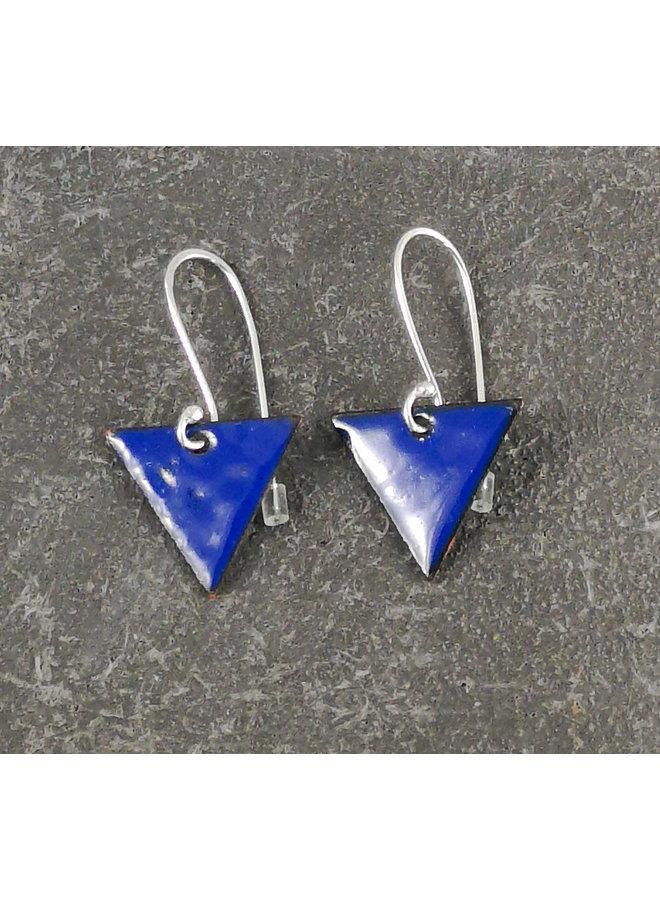 Dreieckige Emaille Ohrringe blau 11