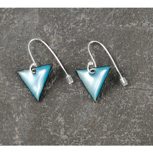 Jane Marshall Triangular enamel drop earrings teal 13